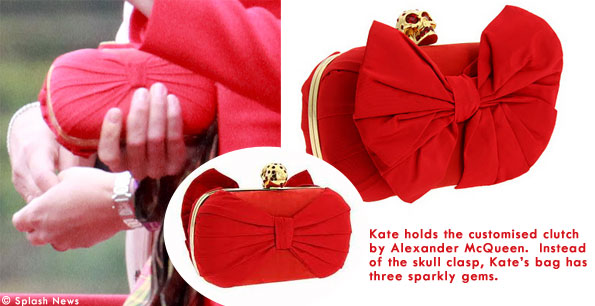 Kate's red bow clutch is by Alexander McQueen