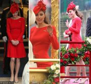 kate in red McQueen dress for the Jubilee river pageant
