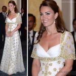 kate middleton in gold and white mcqueen dress