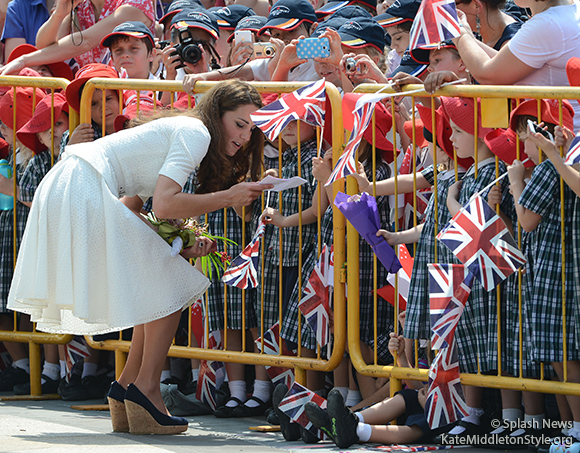 The Duchess of Cambridge during a walkabout after visiting the Gardens by the Bay, Singapore.