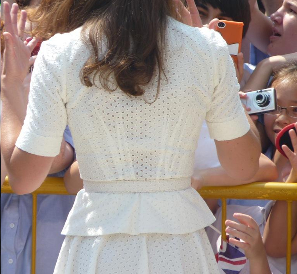 Broderie anglaise on Kate's outfit in Singapore