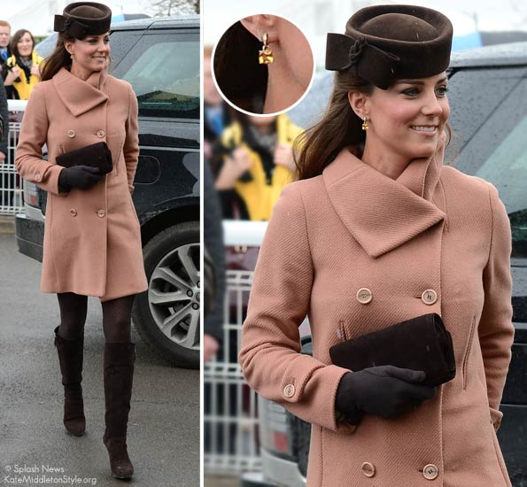 Kate looks cute in pink coat and brown accessories at Cheltenham Festival