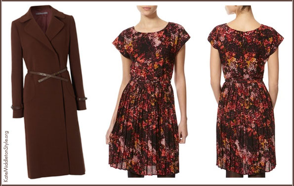 Kate wore Hobbs Celeste coat & Great Plains dress