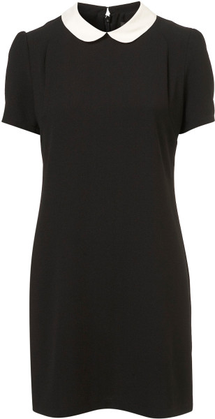 TopShop Black Contrast Collar Shift Dress