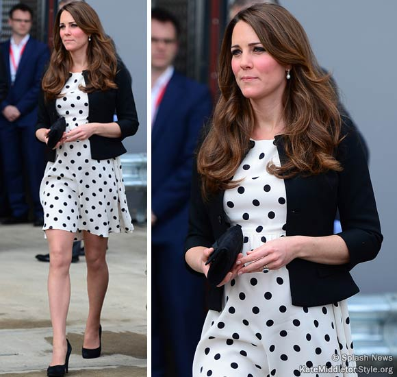 Kate wears £38 TopShop polka dot dress for Warner Bros. Studio opening
