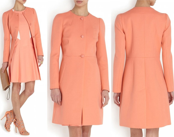 Kate's coral / peach coloured Tara Jarmon coat