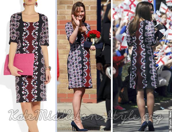 kate wears blue and red erdem floral dress