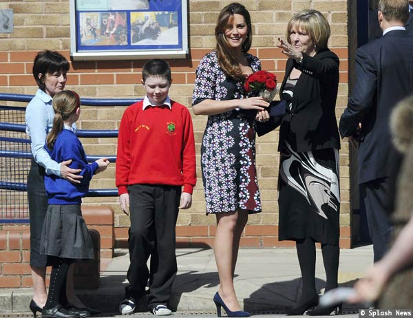 Kate at a school in Manchester, where she launched a new schools counselling programme run by Place2Be and Action on Addiction.