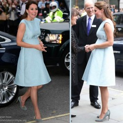 Kate wears blue Emilia Wickstead dress to Art Room charity reception at the National Portrait Gallery