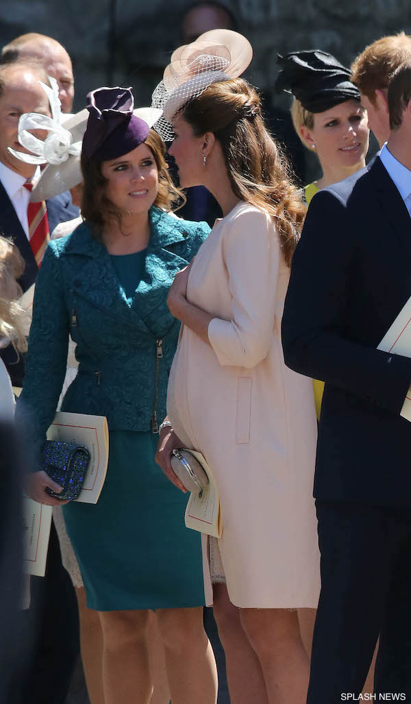 Prince William, Catherine Middleton, Princess Beatrice, Princess Eugenie, Zara Phillips and Mike Tindall are spotted leaving Westminster Abbey after attending the 60th anniversary Coronation Service for Queen Elizabeth II in London.