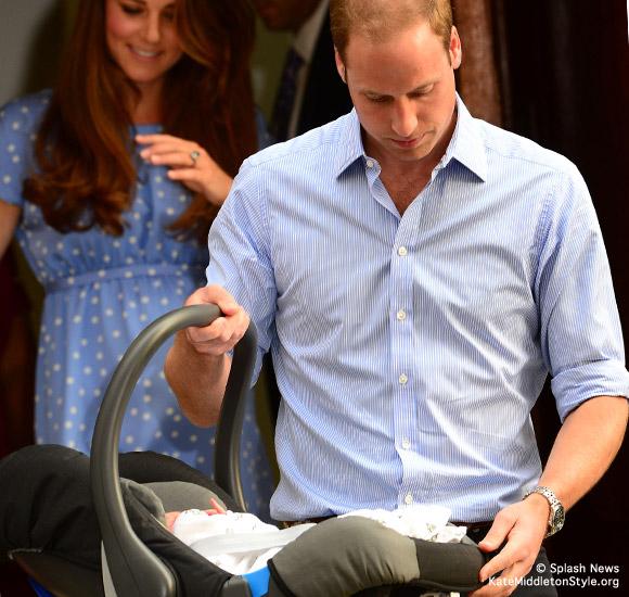 William carries baby Cambridge in his car seat