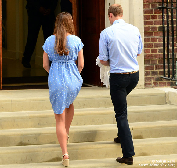 Kate leaving the hospital with George, wearing Imperia wedges