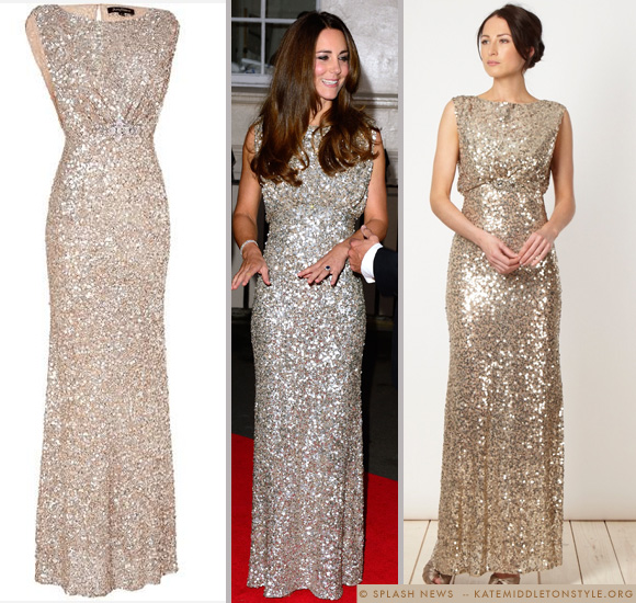 Kate in sequinned Jenny Packham dress for Tusk Conservation Awards