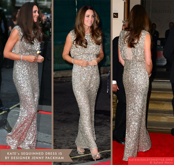 Kate wears sequinned jenny packham dress