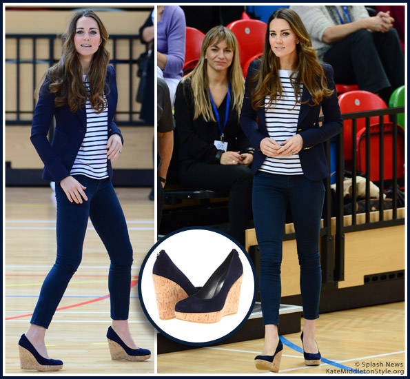 Kate Middleton wore her Corkswoon wedges & Smythe blazer at the SportsAid charity event today