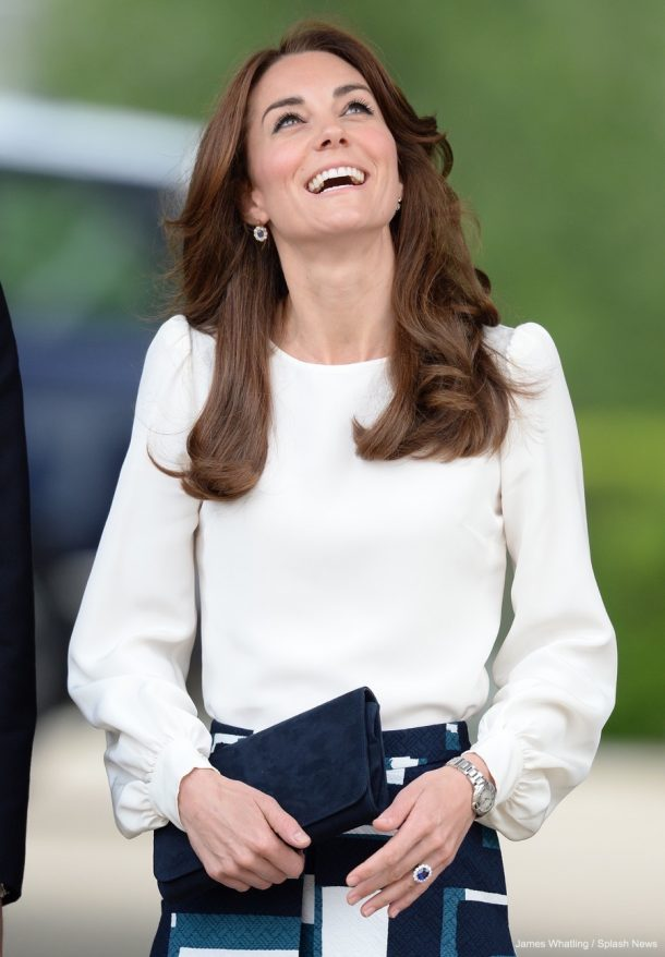 Kate Middleton wearing her engagement ring at a public engagement