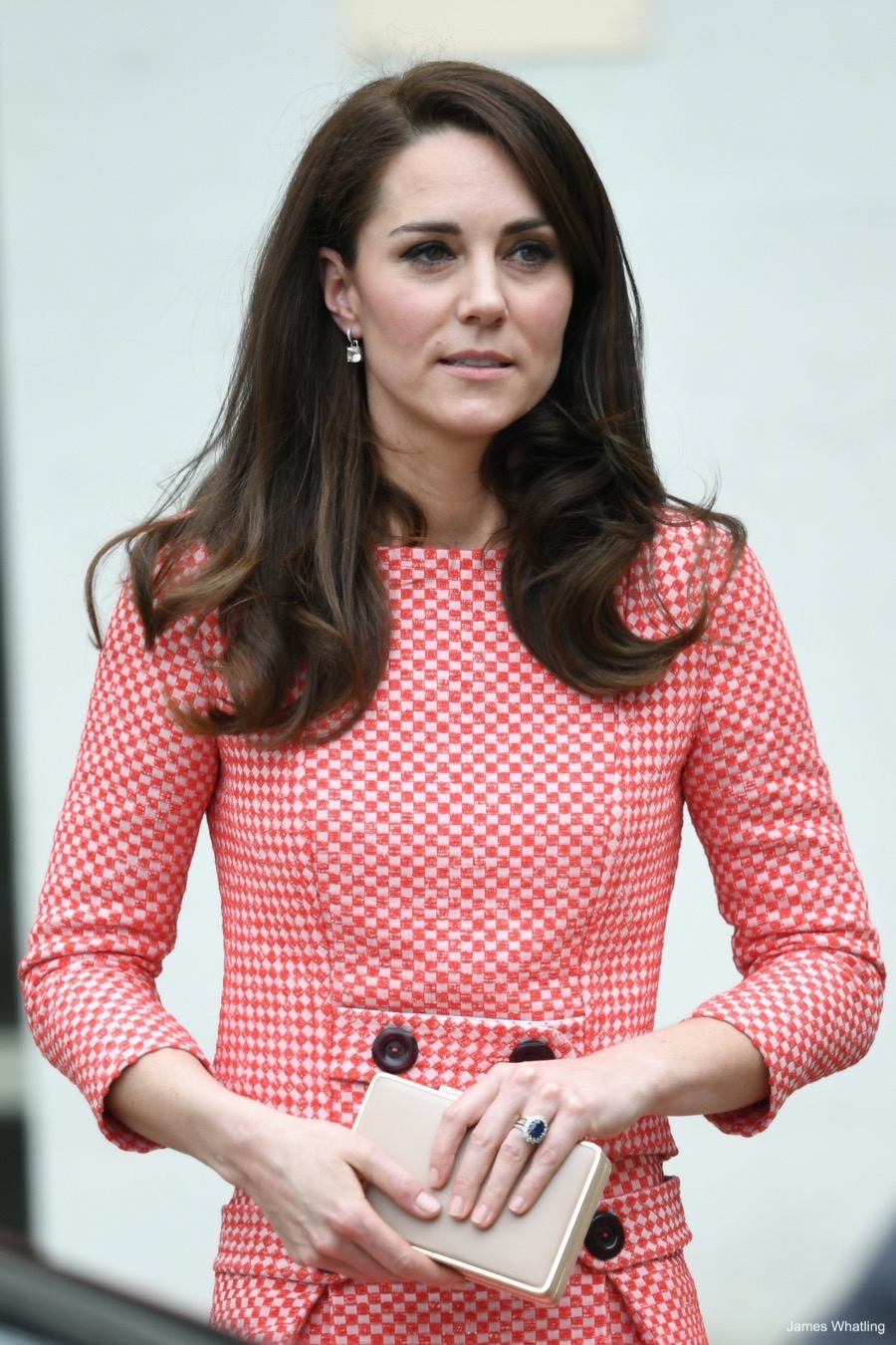 Kate Middleton wearing her engagement ring at a public engagement in London