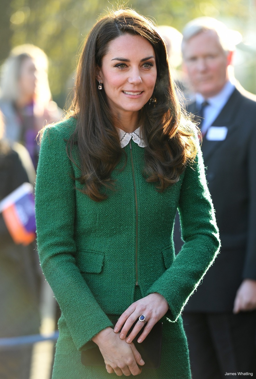 Kate Middleton wearing her engagement ring at a public engagement in Norfolk