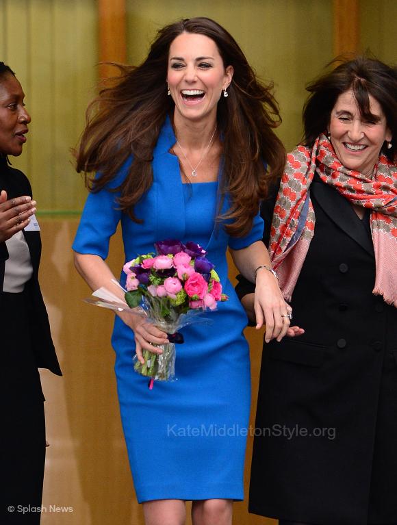 Kate wore the blue LK Bennett Detroit dress to The Art Room in February 2014