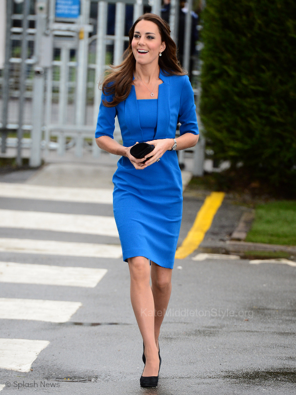 Kate wears blue L.K. Bennett Dress to Art Room opening