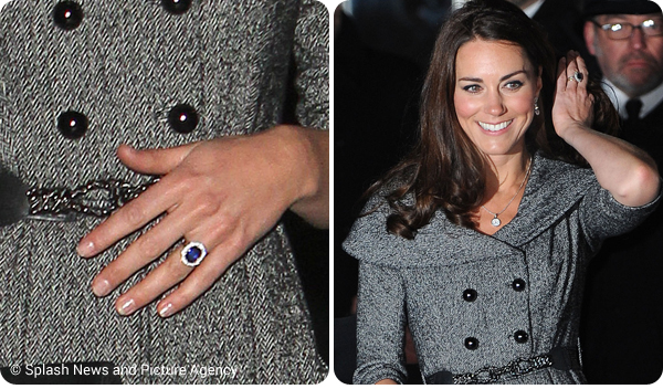 Kate at the National Portrait Gallery in 2012. A look at her engagement ring.