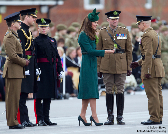The Duchess of Cambridge Hands out Sprigs of Shamrocks to Irish Guard Soldiers