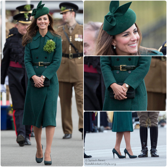 Duchess Kate Wearing Dark Green Hobbs Coat