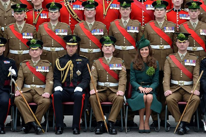 Kate Middleton wearing the green hobbs coat with the Irish Guard on St Patrick's Day 2016