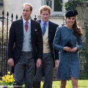 Kate, William and Harry attend the wedding of Lucy Meade and Charlie Budgett