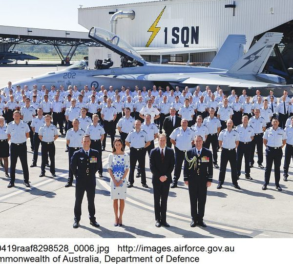 Their Royal Highnesses, the Duke and Duchess of Cambridge, Chief of Air Force, Air Marshal Geoff Brown, AO and Commanding Officer No.1 Squadron Wing Commander Stephen Chappell (left) form the front row for a commemorative Squadron photograph.