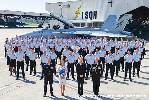 William and Kate pose with the RAAF Officers