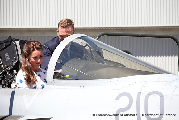 Duchess Kate in the Hornet simulator