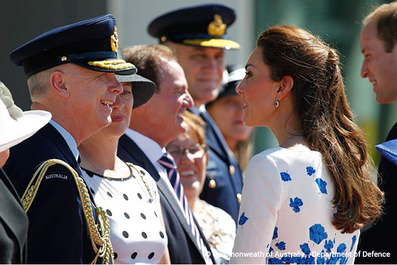 Duchess of Cambridge speaks with Vice Chief of the Defence Force Air Marshal Mark Binskin, AC