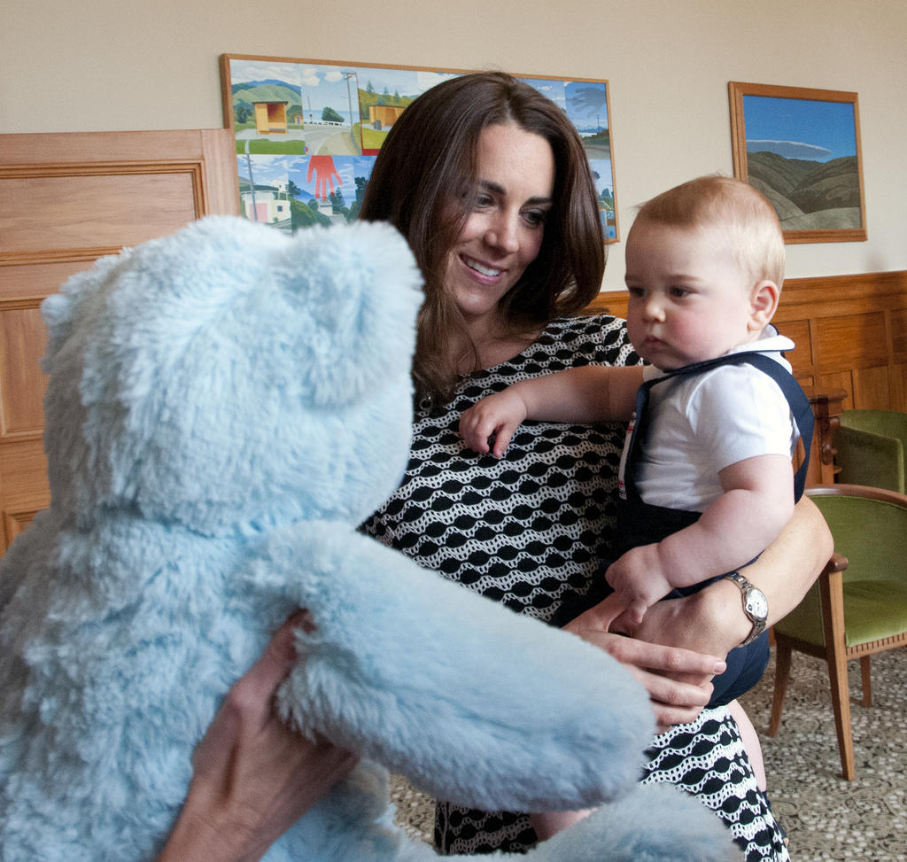 Prince George was presented with a Plunket bear.  © Woolf / Crown Copyright