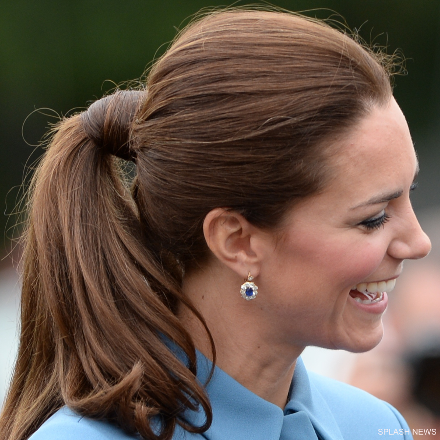 Kate Middleton wearing the blue sapphire and diamond earrings