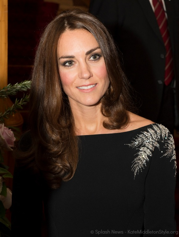 Kate wearing her black Jenny Packham dress with customised silver fern detailing