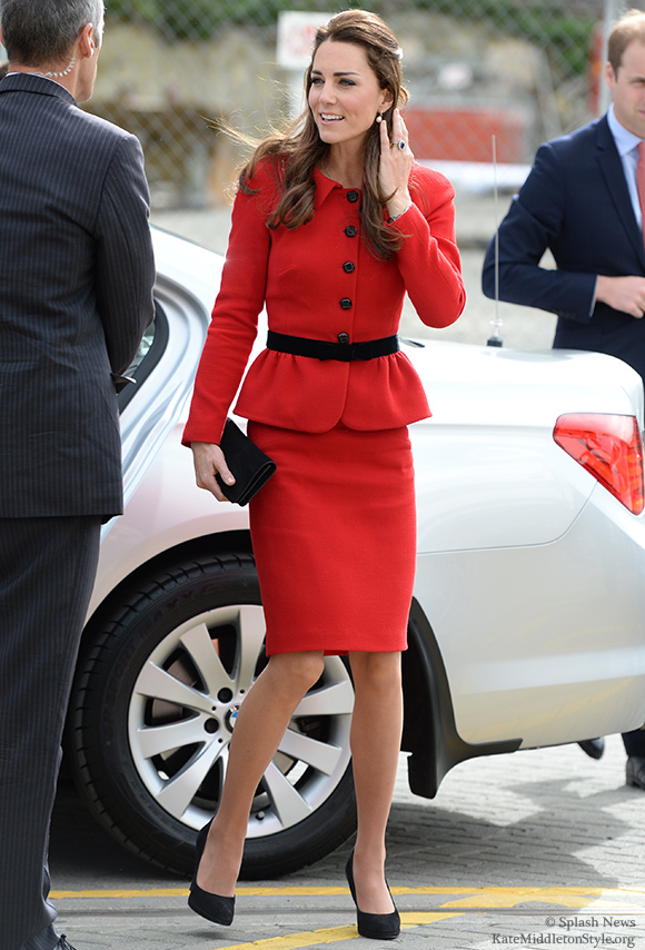 Kate wears a red Luisa Spagnoli suit in Christchurch today