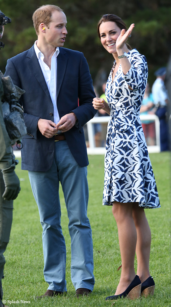 Kate wearing her DVF Patrice dress and Stuart Weitzman Corkswoon wedges