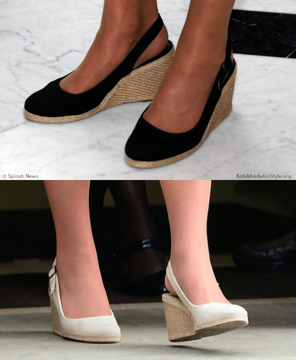 Kate Middleton wears the Pied A Terre Imperia wedges in both black and natural