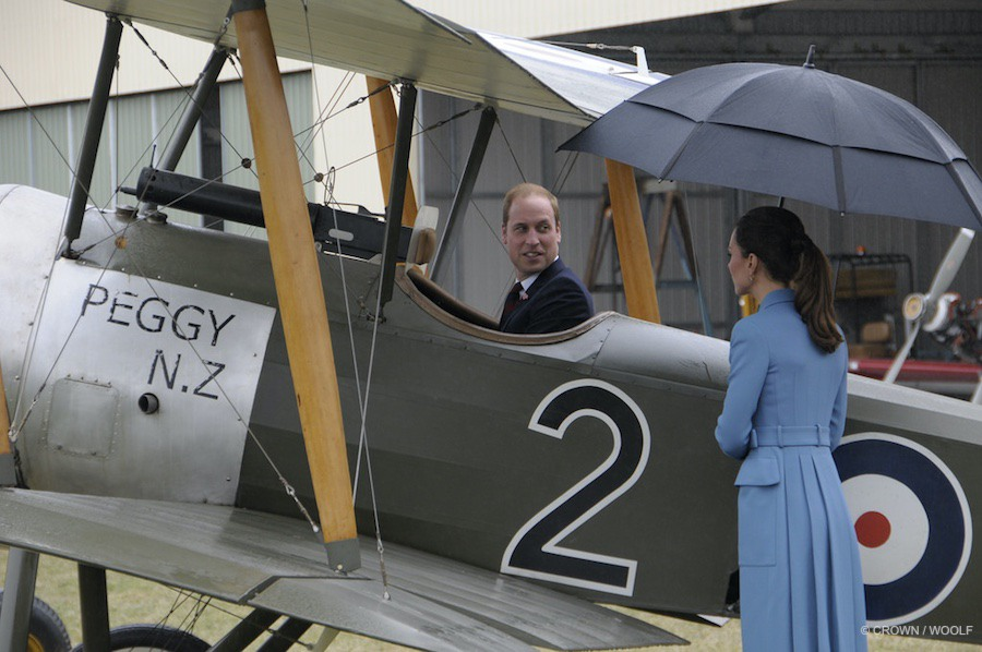 Prince William in an airplane in New Zealand