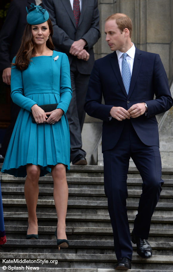 Kate Middleton wears a teal dress by Emilia Wickstead