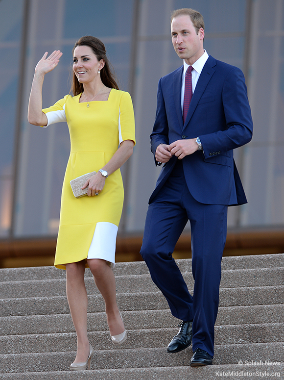 Kate Middleton choses a bespoke yellow version of the Roksanda Ryedale dress for a visit to Sydney in 2014