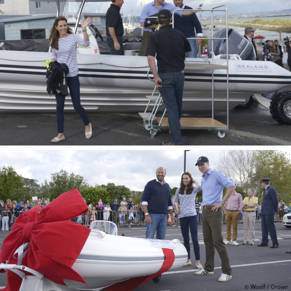 Top: Kate William disembarking Sealegs.  Bottom: a mini Sealegs boat as a gift for George