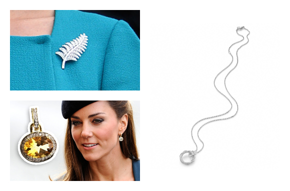 Kate's accessories  Top left fern brooch, bottom left: Kiki earrings worn in 2012 and the same style in another colour.  Both © Splash News.  Right: Mappin & Webb necklace