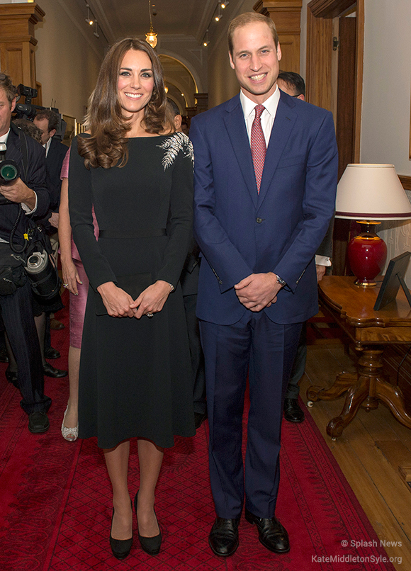 Kate wore a black Jenny Packham dress to the reception