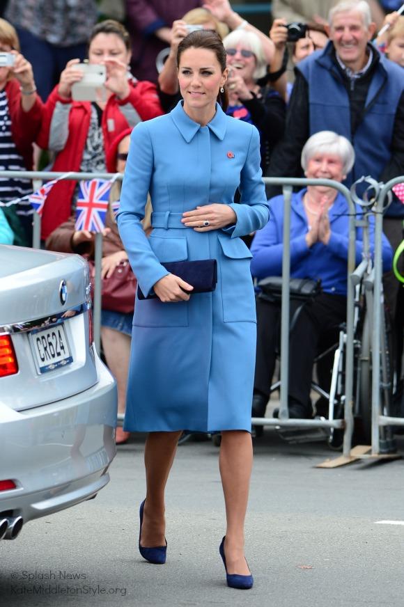 The Duchess of Cambridge wore a cornflower blue coat by Alexander McQueen
