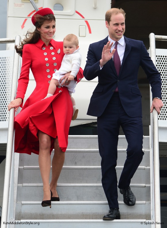 Kate stepped off the plane in New Zealand with William and baby George wearing a stunning red coat by Catherine Walker
