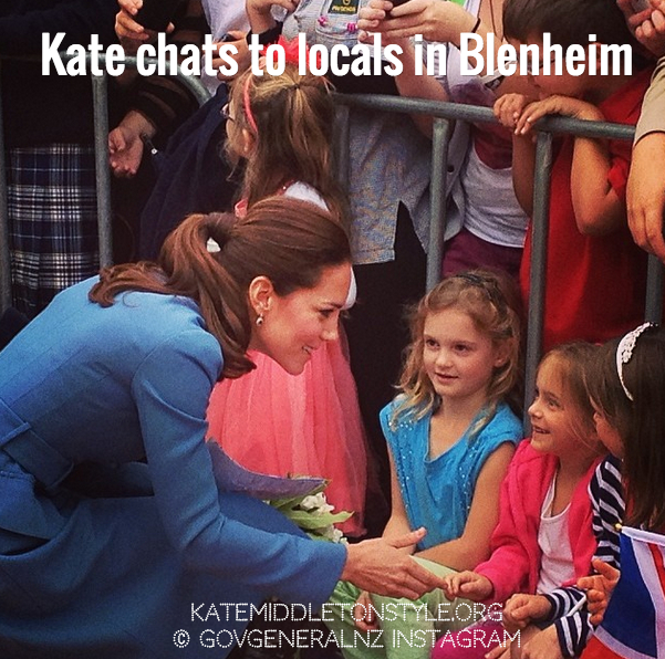 Kate partakes in a walkabout meet and greet in Blenheim