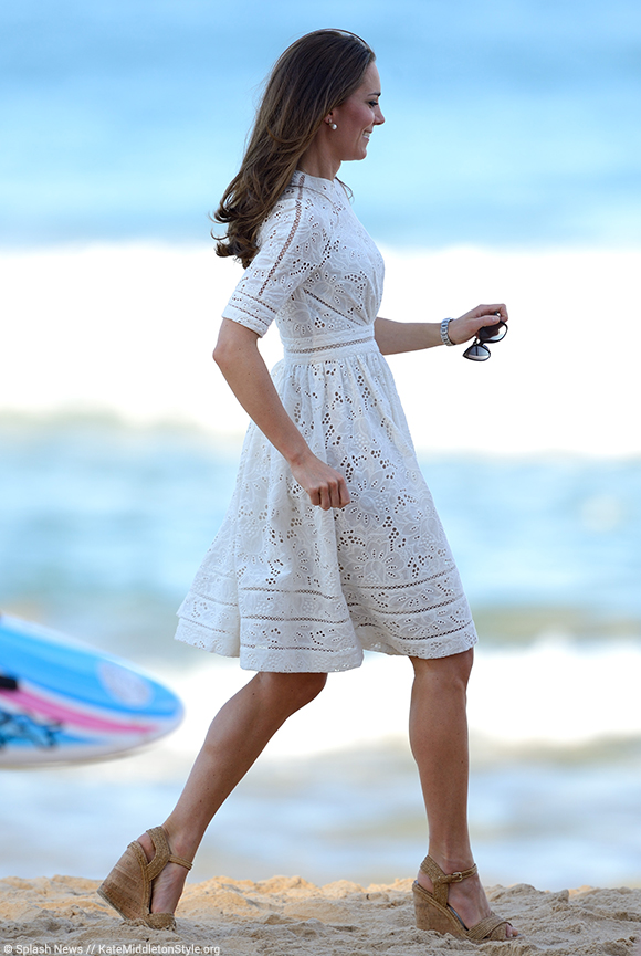 Kate wows in the white Zimmerman Roamer Day Dress and Stuart Weitzman Minx sandals while in Sydney, Australia