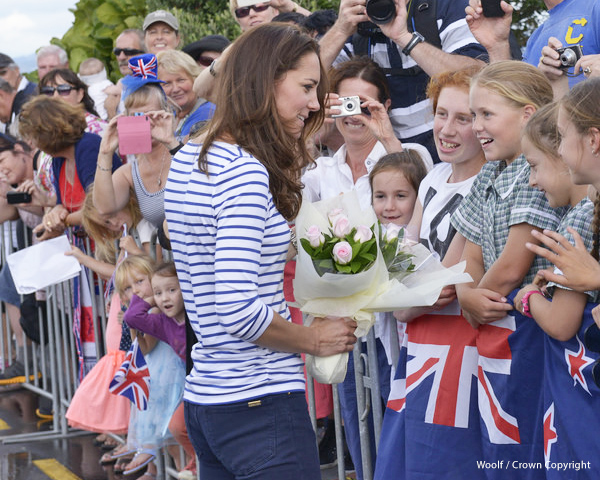Duchess of Cambridge in Auckland wearing a cobalt blue and white striped Breton top from ME+EM